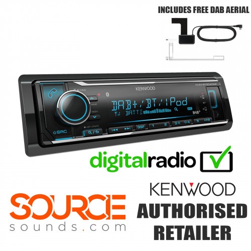 Kenwood KMMBT504DAB Mechless DAB Bluetooth USB AUX Stereo