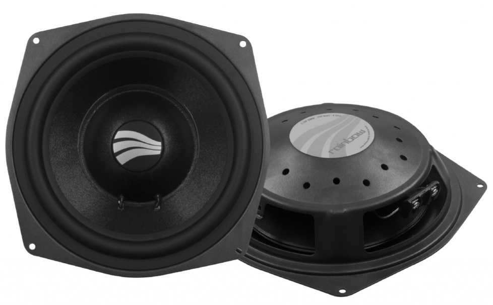 """Are you unhappy with how your BMW sounds? Rainbow 8"""" under seat woofers"""