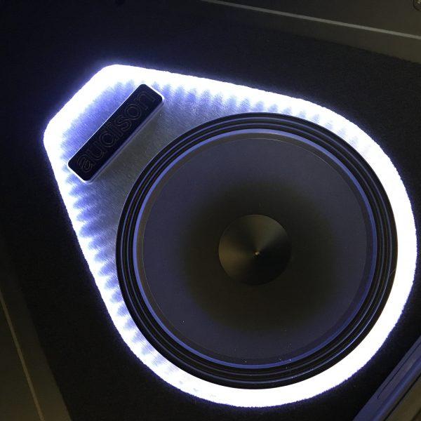 LED illumination around the Audison Voce Subwoofer
